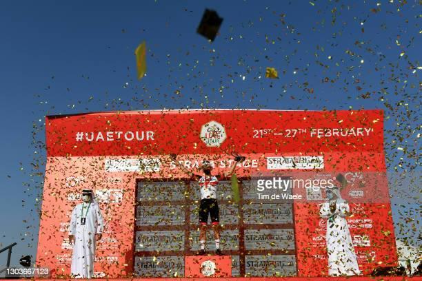 Podium / Tadej Pogacar of Slovenia and UAE Team Emirates Celebration, during the 3rd UAE Tour 2021, Stage 3 a 166km stage from Al Ain - Strata...