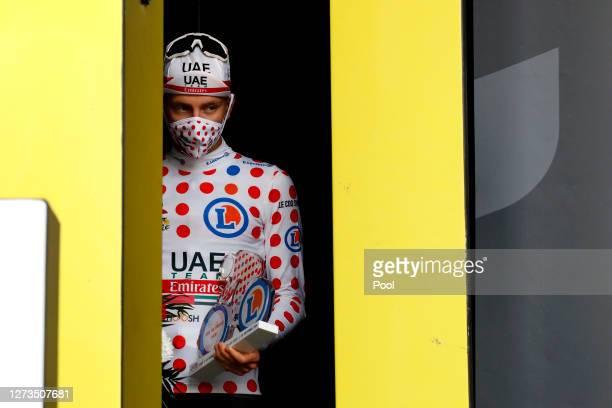 Podium / Tadej Pogacar of Slovenia and UAE Team Emirates Polka Dot Mountain Jersey / Celebration / during the 107th Tour de France 2020, Stage 20 a...