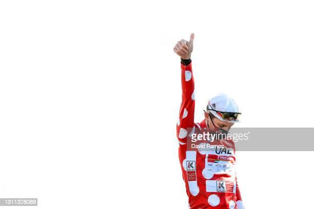 Podium / Tadej Pogacar of Slovenia and UAE Team Emirates Polka Dot Mountain Jersey Celebration, during the 60th Itzulia-Vuelta Ciclista Pais Vasco...