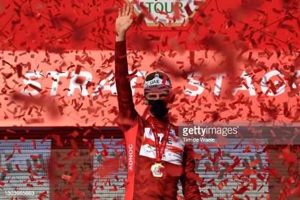 Podium / Tadej Pogacar of Slovenia and UAE Team Emirates Red Leader Jersey Celebration, during the 3rd UAE Tour 2021, Stage 3 a 166km stage from Al...