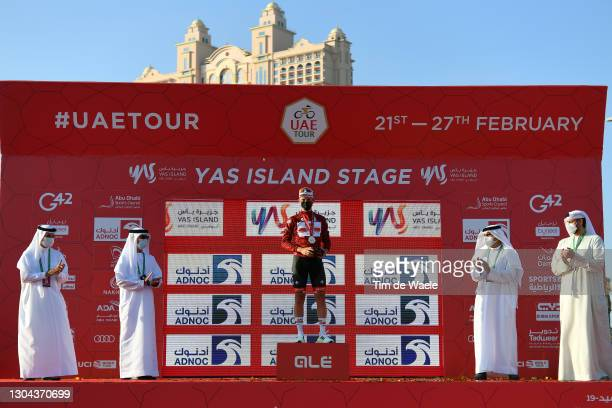 Podium / Tadej Pogacar of Slovenia and UAE Team Emirates Red Leader Jersey Celebration, during the 3rd UAE Tour 2021, Stage 7 a 147km stage from Yas...