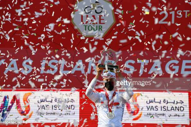 Podium / Tadej Pogacar of Slovenia and UAE Team Emirates White Best Young Rider Jersey Celebration, during the 3rd UAE Tour 2021, Stage 7 a 147km...