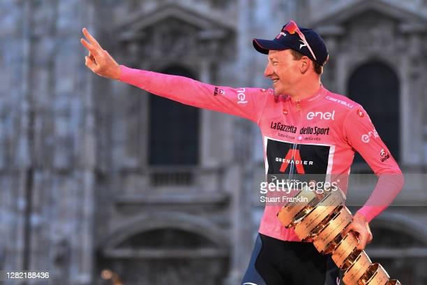Podium / Tao Geoghegan Hart of The United Kingdom and Team INEOS Grenadiers Pink Leader Jersey / Celebration / Trophy / Duomo di Milano / Milan...