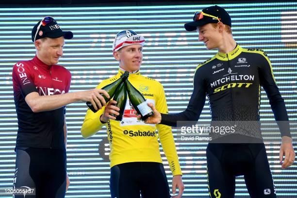 Podium / Tao Geoghegan Hart of The United Kingdom and Team INEOS / Tadej Pogacar of Slovenia and UAE Team Emirates Yellow Leader Jersey / Jack Haig...