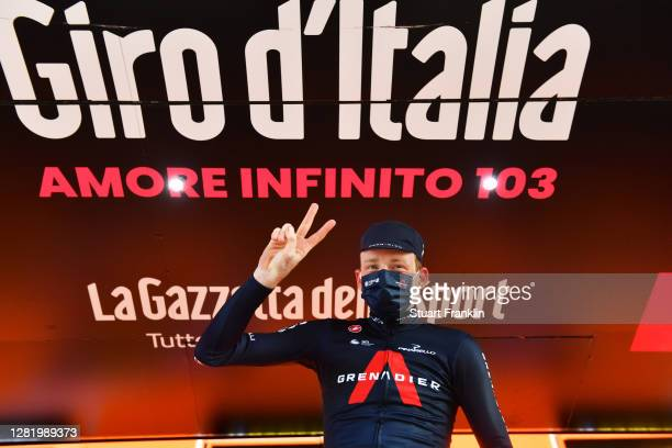 Podium / Tao Geoghegan Hart of The United Kingdom and Team INEOS Grenadiers / Celebration / during the 103rd Giro d'Italia 2020, Stage 20 a 190km...