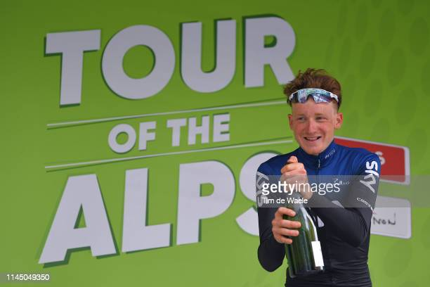 Podium / Tao Hart Geoghegan of United Kingdom and Team Sky / Celebration / Champagne / during the 43rd Tour of the Alps 2019, Stage 4 a 134km stage...