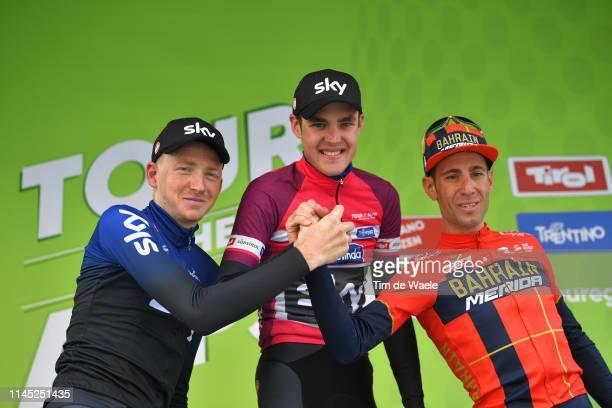 Podium / Tao Hart Geoghegan of United Kingdom and Team Sky / Pavel Sivakov of Russia and Team Sky Fuchsia Leader Jersey / Vincenzo Nibali of Italy...