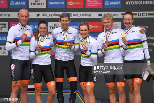 Podium / Team Netherlands / Lucinda Brand of The Netherlands / Riejanne Markus of The Netherlands / Amy Pieters of The Netherlands / Koen Bouwman of...