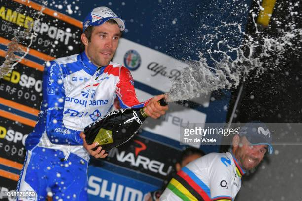 Podium / Thibaut Pinot of France and Team Groupama FDJ / Alejandro Valverde Belmonte of Spain and Movistar Team / Celebration / Champagne , during...