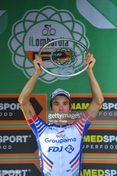Podium / Thibaut Pinot of France and Team Groupama - FDJ / Celebration / Trophy / during the 112th Il Lombardia 2018 a 241km race from Bergamo to...