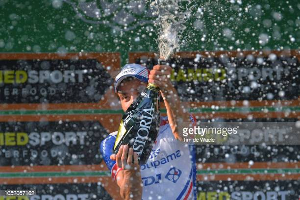 Podium / Thibaut Pinot of France and Team Groupama - FDJ / Celebration / Champagne / during the 112th Il Lombardia 2018 a 241km race from Bergamo to...