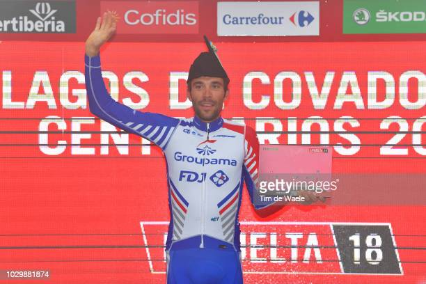 Podium / Thibaut Pinot of France and Team Groupama FDJ / Celebration / during the 73rd Tour of Spain 2018, Stage 15 a 178,2km stage from Ribera de...