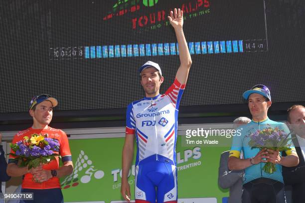 Podium / Thibaut Pinot of France and Team Groupama FDJ / Domenico Pozzovivo of Italy and Team Bahrain Merida / Miguel Angel Lopez of Colombia and...