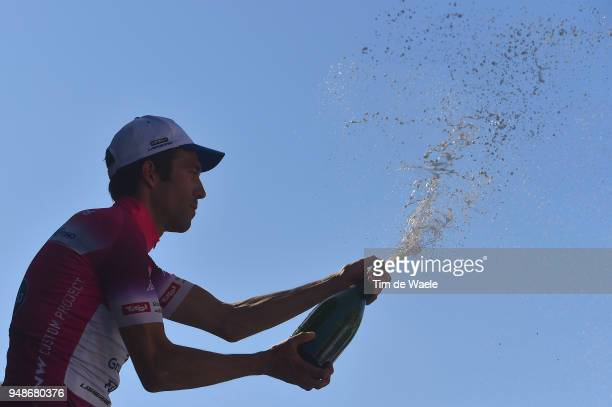 Podium / Thibaut Pinot of France and Team Groupama FDJ Purple leaders jersey / Celebration / Champagne / Silhouet / during the 42nd Tour of the Alps...