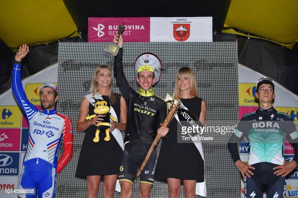 Podium / Thibaut Pinot of France and Team Groupama - Fdj / Simon Yates of United Kingdom and Team Mitchelton - Scott / Davide Formolo of Italy and...