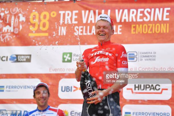 Podium / Thibaut Pinot of France and Team Groupama FDJ / Toms Skujins of Latvia and Team Trek-Segafredo / Celebration / Champagne /during the 98th...