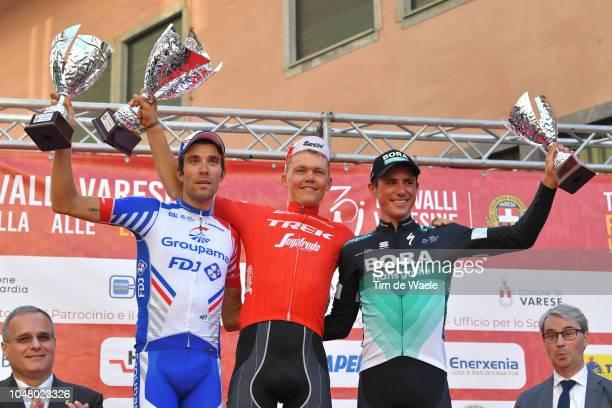 Podium / Thibaut Pinot of France and Team Groupama FDJ / Toms Skujins of Latvia and Team TrekSegafredo / Celebration / Peter Kennaugh of Great...