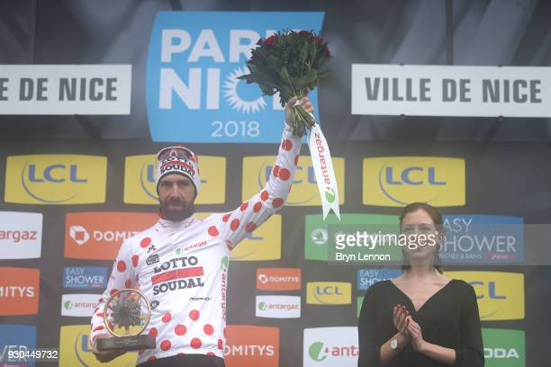 Podium / Thomas De Gendt of Belgium and Lotto Soudal / Polka Dot Mountain Jersey / Celebration during the 76th Paris Nice 2018 Stage 8 a 110km stage...