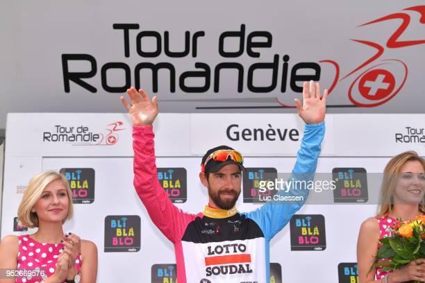 Podium / Thomas De Gendt of Belgium and Team Lotto Soudal Black Mountain Jersey / Celebration / during the 72nd Tour de Romandie 2018, Stage 5 a...