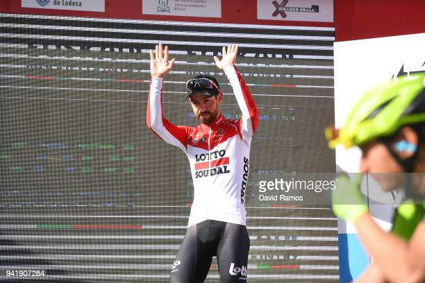 Podium / Thomas de Gendt of Belgium and Team Lotto Soudal / Celebration / during the 58th Vuelta Pais Vasco 2018, Stage 3 a 184,8km stage from Bermeo...