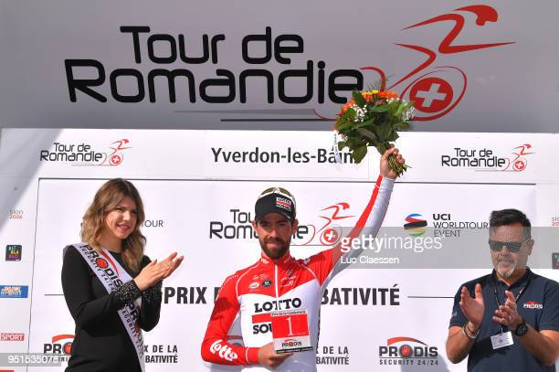 Podium / Thomas De Gendt of Belgium and Team Lotto Soudal / Celebration / during the 72nd Tour de Romandie 2018 Stage 2 a 1739km stage from Delemont...