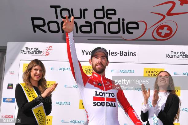 Podium / Thomas De Gendt of Belgium and Team Lotto Soudal / Celebration / during the 72nd Tour de Romandie 2018, Stage 2 a 173,9km stage from...