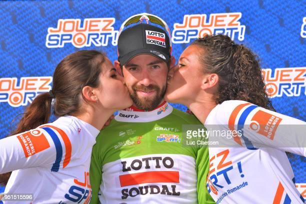 Podium / Thomas De Gendt of Belgium and Team Lotto Soudal Green Sprint Jersey / Celebration / during the 72nd Tour de Romandie 2018, Stage 2 a...