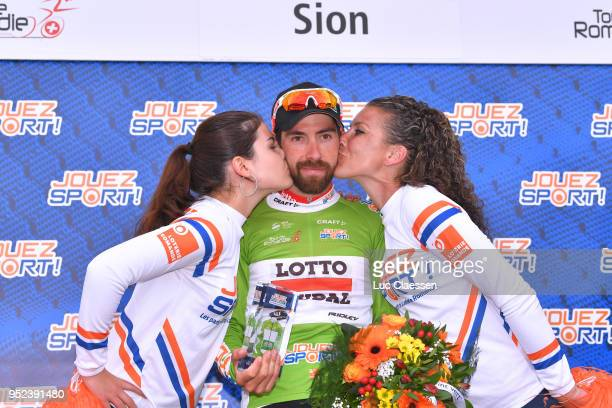 Podium / Thomas De Gendt of Belgium and Team Lotto Soudal Green Sprint Jersey / Celebration / during the 72nd Tour de Romandie 2018 Stage 4 a 1492km...