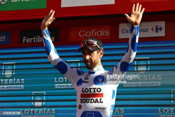 Podium / Thomas De Gendt of Belgium and Team Lotto Soudal Polka Dot Mountain jersey / Celebration / during the 73rd Tour of Spain 2018, Stage18 a...