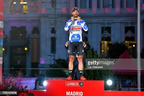 Podium / Thomas De Gendt of Belgium and Team Lotto Soudal Polka Dot Mountain Jersey / Celebration / Madrid Town Hall / Plaza Cibeles / during the...