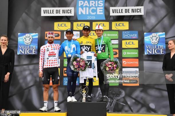 Podium / Thomas De Gendt of Belgium and Team Lotto Soudal Polka Dot Mountain Jersey / Nairo Quintana of Colombia and Movistar Team / Egan Arley...