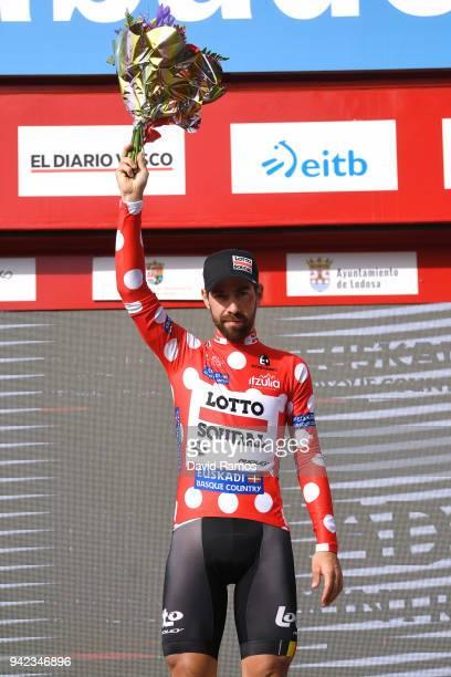 Podium / Thomas de Gendt of Belgium and Team Lotto Soudal Polka Dot Mountain Jersey / Celebration / Flowers / during the 58th Vuelta Pais Vasco 2018...