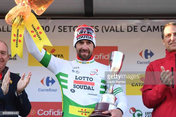 Podium / Thomas De Gendt of Belgium and Team Lotto Soudal White Leader Jersey / Celebration / during the 98th Volta Ciclista a Catalunya 2018, Stage...