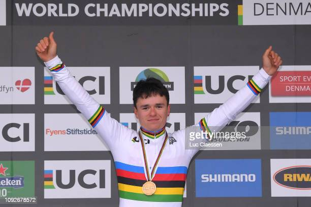 Podium / Thomas Pidcock of Great Britain and Team Great Britain Gold Medal / Celebration / during the 70th Cyclo-cross World Championships Bogense...