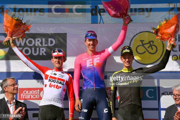 Podium / Tiesj Benoot of Belgium and Team Lotto Soudal / Sep Vanmarcke of Belgium and Team EF Education First / Jack Haig of Australia and Team...