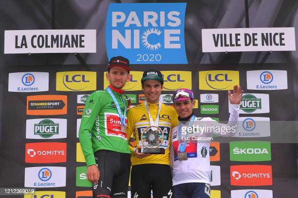 Podium / Tiesj Benoot of Belgium and Team Sunweb Green Sprint Jersey / Maximilian Schachmann of Germany and Team Bora - Hansgrohe Yellow Leader...