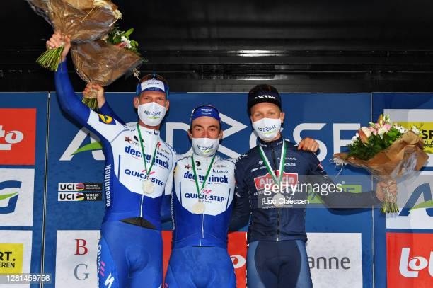 Podium / Tim Declercq of Belgium and Team Deceuninck - Quick-Step / Yves Lampaert of Belgium and Team Deceuninck - Quick-Step / Tim Merlier of...