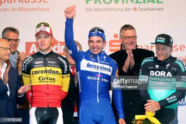 Podium / Tim Merlier of Belgium and Team Corendon - Circus / Alvaro Jose Hodeg Chagui of Colombia and Team Deceuninck - Quick-Step / Pascal Ackermann...