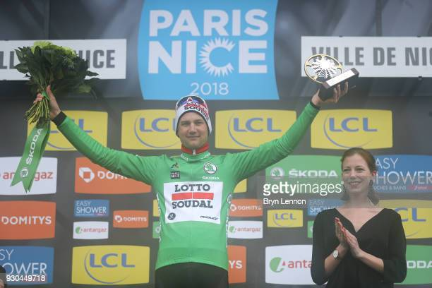 Podium / Tim Wellens of Belgium and Lotto Soudal Green Points Jersey / Celebration / during the 76th Paris Nice 2018 Stage 8 a 110km stage from Nice...