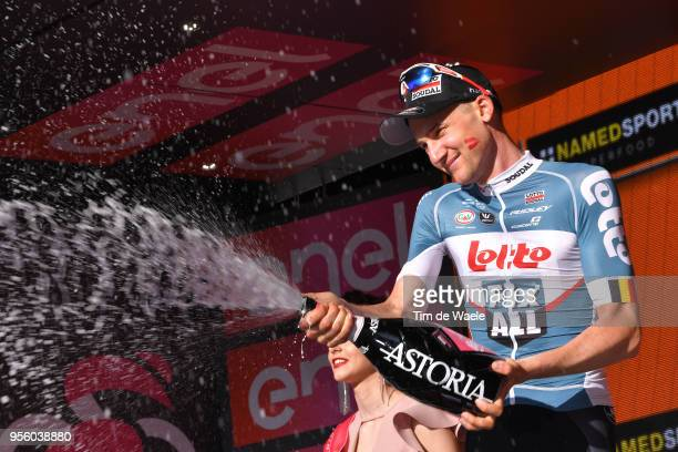 Podium / Tim Wellens of Belgium and Team Lotto Soudal / Celebration / Champagne / during the 101th Tour of Italy 2018 Stage 4 a 198km stage from...