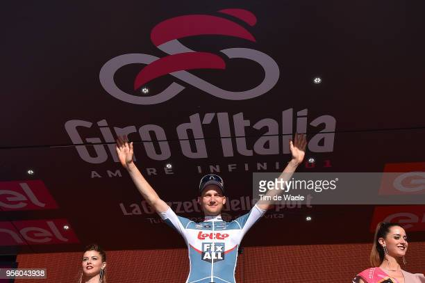 Podium / Tim Wellens of Belgium and Team Lotto Soudal / Celebration / during the 101th Tour of Italy 2018 Stage 4 a 198km stage from Catania to...