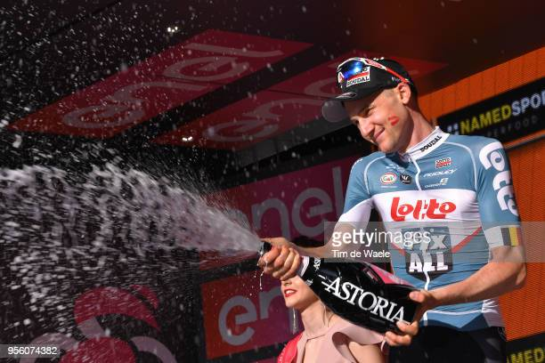 Podium / Tim Wellens of Belgium and Team Lotto Soudal / Celebration / Champagne / during the 101th Tour of Italy 2018, Stage 4 a 198km stage from...