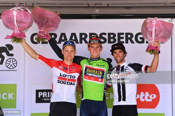 Podium / Tim Wellens of Belgium and Team Lotto Soudal / Matej Mohoric of Slovenia and Team Bahrain Merida Green Leader Jersey / Michael Matthews of...