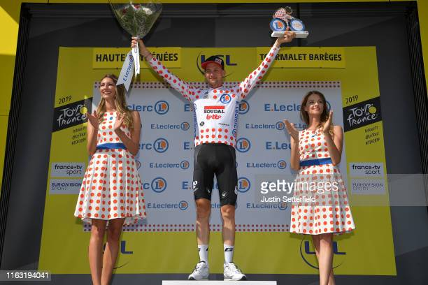 Podium / Tim Wellens of Belgium and Team Lotto Soudal Polka Dot Mountain Jersey / Celebration / Miss / Hostess / during the 106th Tour de France...