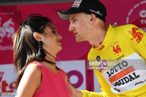Podium / Tim Wellens of Belgium and Team Lotto Soudal Yellow Leader Jersey / Celebration / during the 39th Tour Wallonie 2018, Stage 3 a 169,2km...
