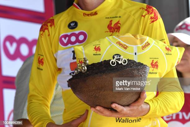 Podium / Tim Wellens of Belgium and Team Lotto Soudal Yellow Leader Jersey / Celebration / Trophy / Detail view / during the 39th Tour Wallonie 2018,...