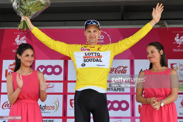 Podium / Tim Wellens of Belgium and Team Lotto Soudal Yellow Leader Jersey / Celebration / during the 39th Tour Wallonie 2018, Stage 5 the 39th Tour...
