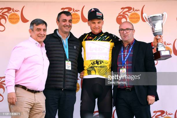 Podium / Tim Wellens of Belgium and Team Lotto Soudal Yellow Leader Jersey / Celebration / during the 65th Ruta del Sol 2019, Stage 2 a 216,5km stage...