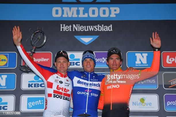 Podium / Tim Wellens of Belgium and Team Lotto Soudal / Zdenek Stybar of Czech Republic and Team Deceuninck Quick-Step / Greg Van Avermaet of Belgium...