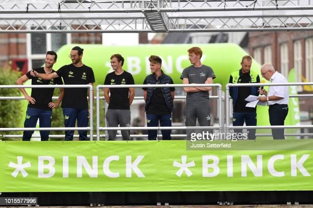 Podium / Timothy Dupont of Belgium and Team Wanty Groupe Gobert / Frederik Backaert of Belgium and Team Wanty Groupe Gobert / Tom Devriendt of...